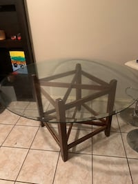 Glass/Wood Dinner Table