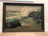 Painting of river with brown wooden frame