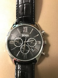 Round silver chronograph watch with black leather strap Ellicott City, 21042