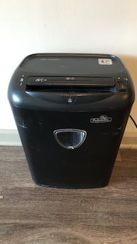 black Fellowes paper shredder