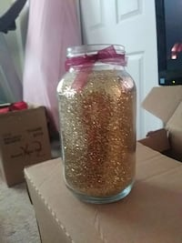 yellow glitter print glass jar container Flushing, 48433