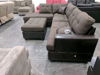 black leather sectional couch with ottoman Las Vegas, 89147
