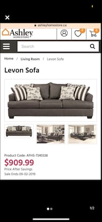 Ashley 3 seater couch / sofa couch Brampton, L7A 2B6