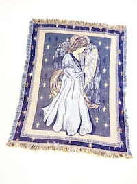 "Vintage blanket ""Angel playing harp"" , 100%cotton, made in USA, rare to find ,collectible item,  like new North Vancouver, V7P 3E6"