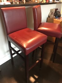 2 Leather like beautiful bar height chairs