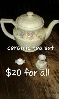 white ceramic floral print tea set Plano, 75026