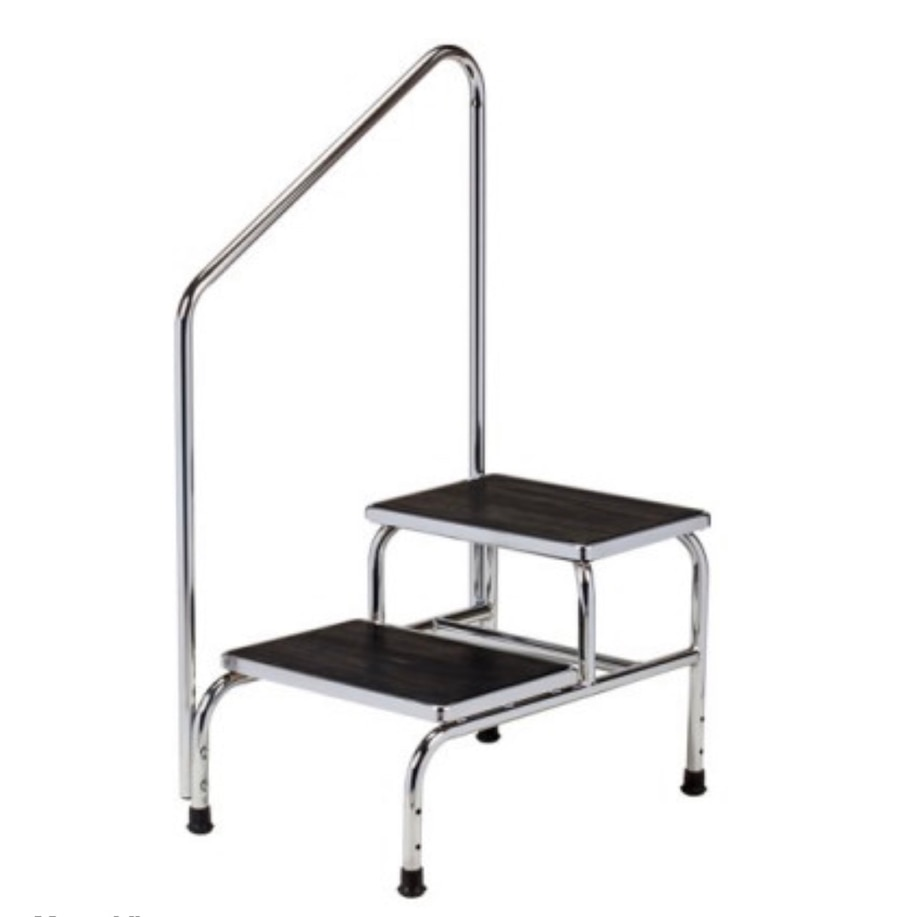Photo Chrome two-step step stool with handrail Clinton T-6850