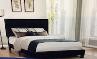 Black leather queen upholstered bed  Greenfield, 53221