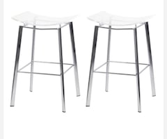 Acrylic bar stools with silver metal legs (pair)