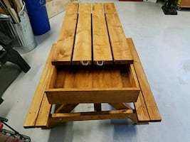 Childs picnic table and sandbox