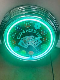 Texas Hold'em Neon Wall Clock: