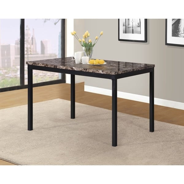 Citico Metal Dining Table w/ Faux Marble Top