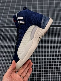 blue and white Nike Air Jordan shoe New York