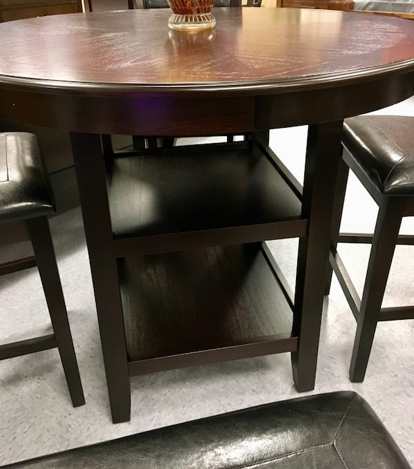 Alvina Espresso 3 Tier Counter Height Dinning Table 8a6cb667-bffb-4df5-8331-749ff8b081f1