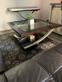 38x38 Brown Wood and Glass Coffee Table