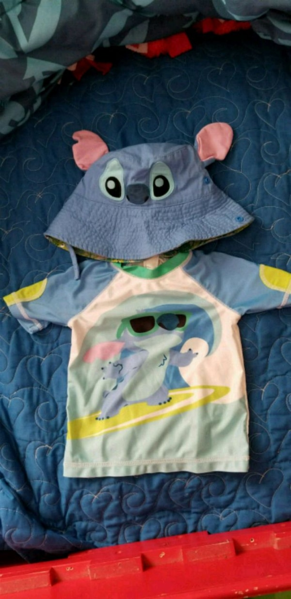 Stitch rash guard and hat 18-24 mos