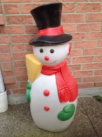 white and red snowman-Xmas decoration- lights up Hamilton, L8V