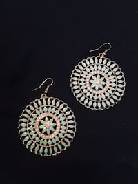 round teal-and-silver-colored pendant hook earrings