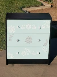 white and black wooden dresser-small