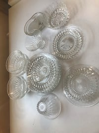 Clear glass desert plates and desert cups made in France no chips Cambridge, N1R 2T9