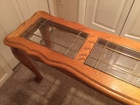 Beautiful solid oak and leaded glass table  Tomkins Cove, 10986