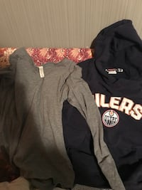Navy blue Oilers hoody and plain grey long sleeved shirt  LETHBRIDGE