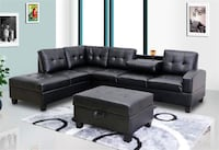 tufted black leather sectional sofa Washington, 20010