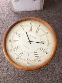 round brown wooden framed analog wall clock Westminster