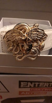white Versace leather belt with gold-colored buckle
