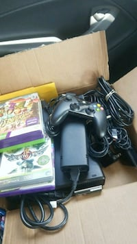 black Microsoft Xbox 360 with game cases San Antonio, 78237