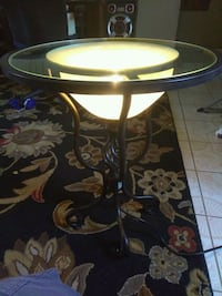Elegant glass end table with light