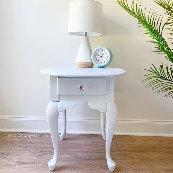 Refinished Ice Blue Side Table