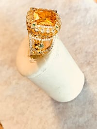 Luxury Yellow gold plated cut citrine ring  Los Angeles, 91403