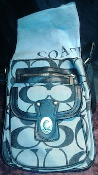 gray Coach bag