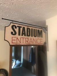 Stadium metal hanging sign