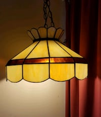 Cream and brown stained glass pendant lamp Gaithersburg, 20879