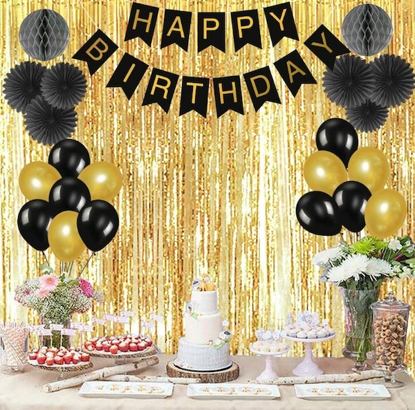 Black And Gold Happy Birthday Balloons