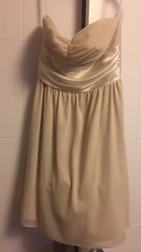 Sparkly champagne strapless dress , T7X 0M5
