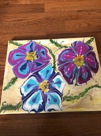 purple and blue flowers painting