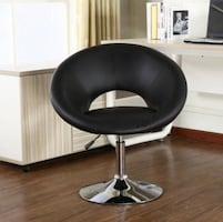 """Contemporary Chrome Adjustable Swivel Chair with Black Seat 29.5""""W x"""