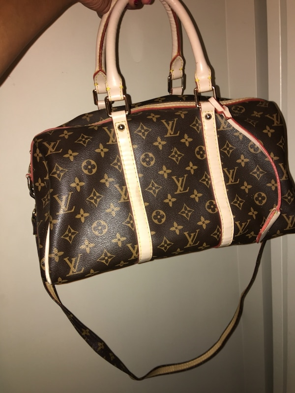 Brown and white louis vuitton leather tote bag