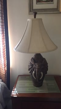 brown wooden base with white lampshade table lamp 70 mi