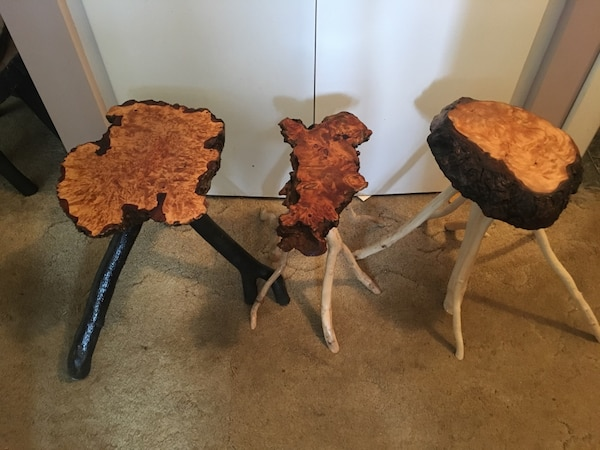 Hand crafted burl tables. Birds eye maple. Yellow cedar
