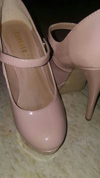 pair of pink Forever21 patented leather stilettos