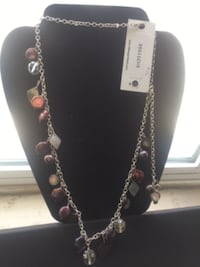 Hillberg and BerK silver-colored and purple beaded necklace