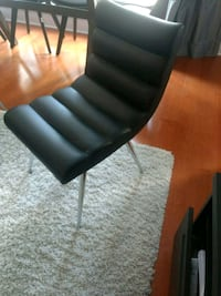 black leather padded chair with stainless steel base Toronto, M6J