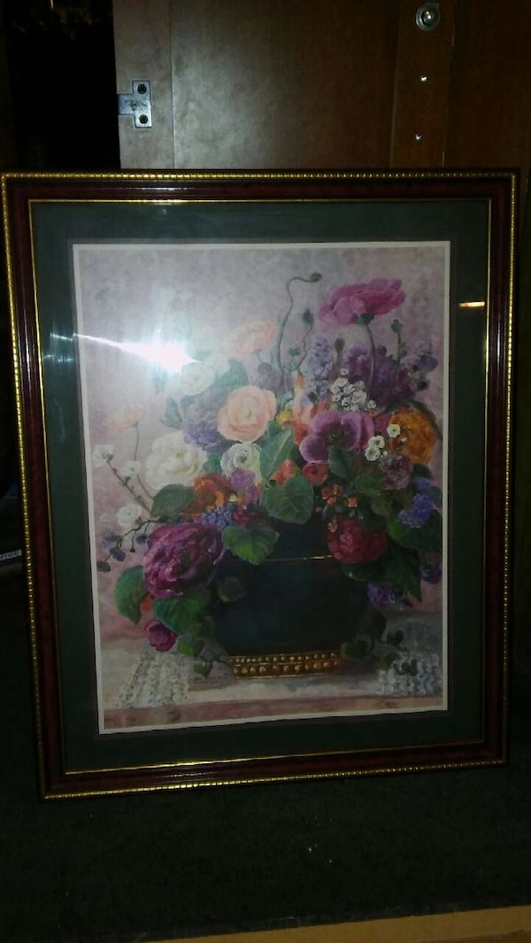 Floral picture in frame