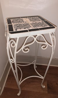 Antique black and white tile table