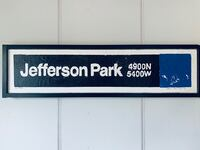 Hand crafted Jefferson Park CTA Blue Line Stop Wall Art Chicago, 60630