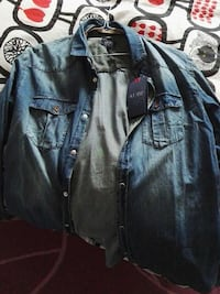 button up blue denim jacket Roma